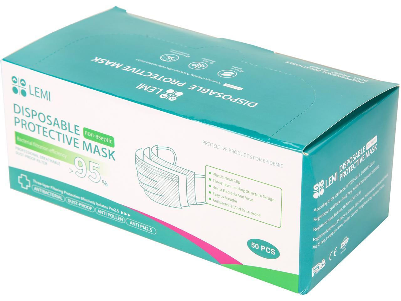 Newegg: LEMI Disposable 3-Layer Protective Mask -50 pcs for