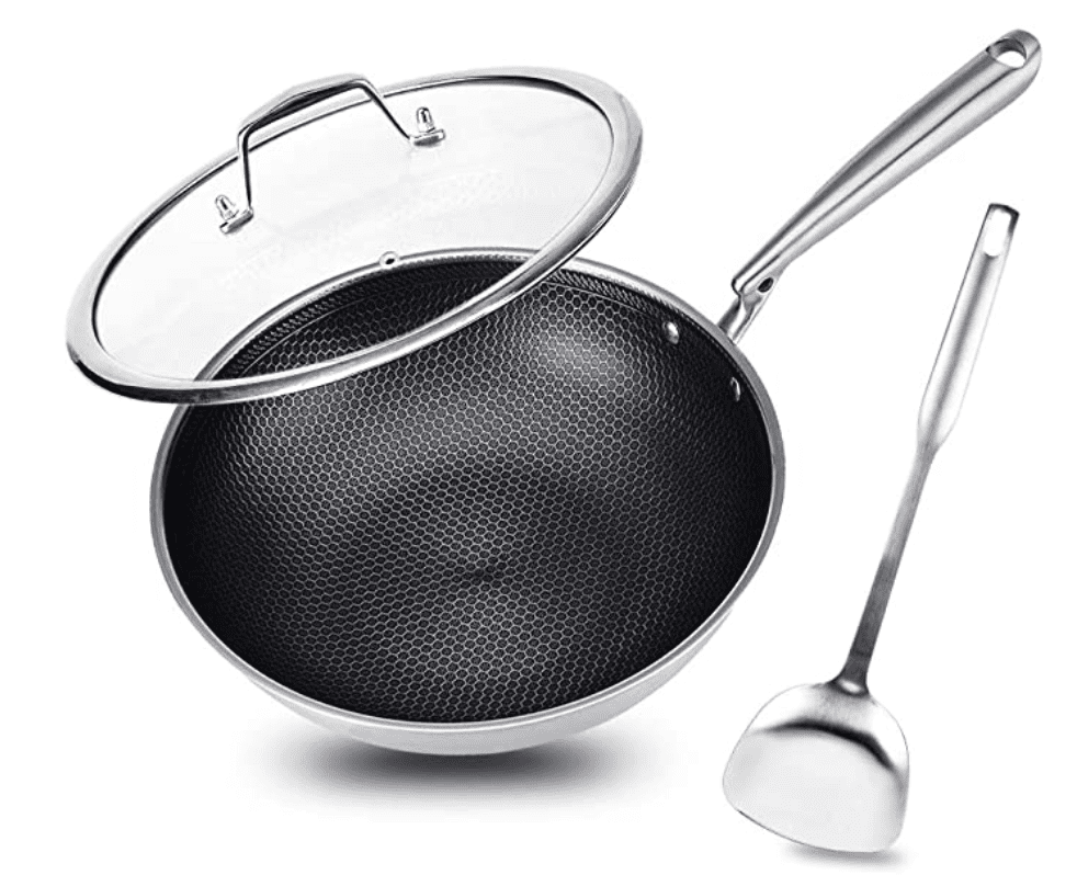 Potinv 12.5″ Stainless Steel Wok for .